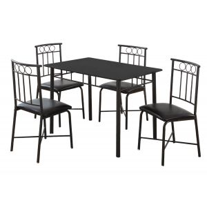 Black Metal 5-Piece Dinette Set