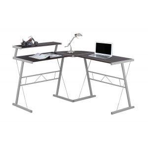 Cappuccino&Silver L-Shaped Computer Desk